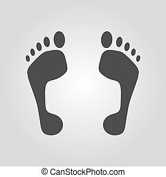 The footprint icon. foot symbol. Flat