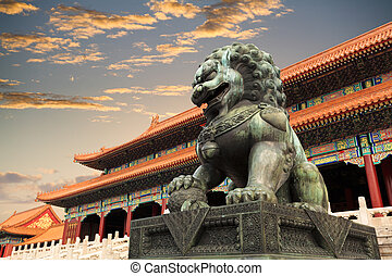 the palace museum with sunset glow in beijing, China