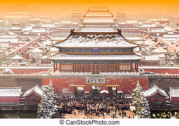 The Forbidden City in winter, Beijing, China