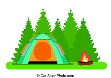 The forest camp. The tent with a campfire in a forest.