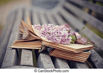 The forgotten books and branch of a lilac on a bench.