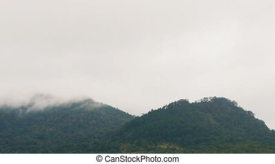 The formation and movement of clouds over slopes Dalat city. Vietnam.