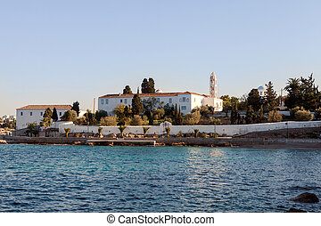 The former monastery of Agios Nikolaos on Spetses Island, Greece, which is now the island's cathedtral.