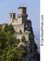 The Republic of San Marino - The fortress of Guaita on Mount...