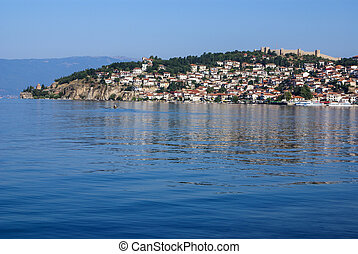 The fortress of Tsar Samuil photographed from distance, in Ohrid, Macedonia