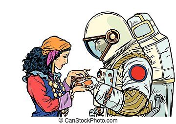 The fortune teller, and an astronaut. Isolate on white...