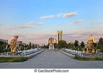 The fountain complex in the park. Ashkhabad. Turkmenistan.