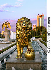 The fountain complex in the park. Ashkhabad. Turkmenistan