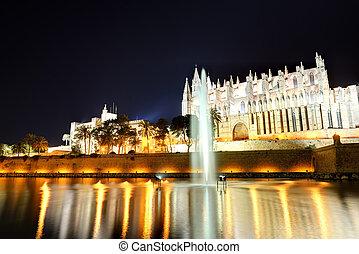 The fountain near Cathedral of Santa Maria of Palma in Palma de Mallorca, Spain