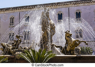 The fountain of Diana in Syracuse - View of the fountain of...