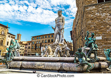 The Fountain of Neptune in Florence