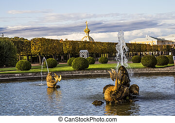 The fountain of Neptune in the top park ensemble Peterhof