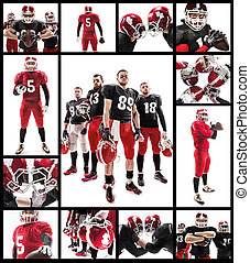 The four american football players posing with ball on white background