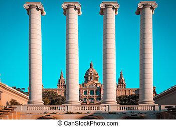 The Four Columns Ionic columns near Palau Nacional in Barcelona