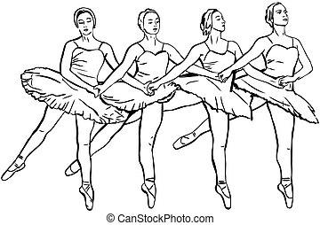 the four girls ballerinas dance on pointe