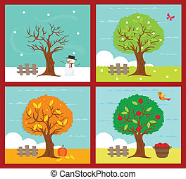 The Four Seasons - An illustration of the four seasons. ...
