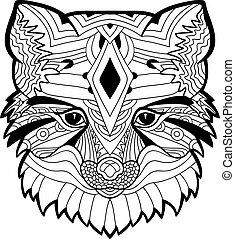 The Fox head pattern. Monochrome ink drawing