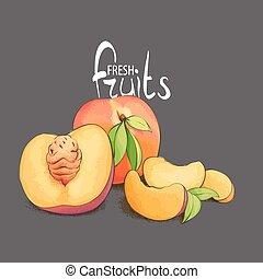 The fragrant peach closeup - Juicy and fragrant peach with a...