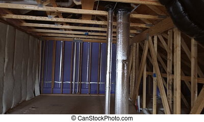 The frame of a wooden house on a unfinished object in close up a new house under contruction frame