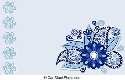 The frame of the blue flower