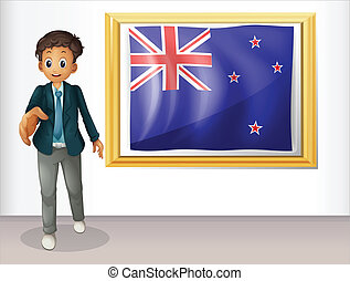The framed flag of New Zealand with a man