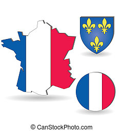The France flag and map