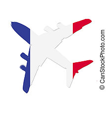 The France flag painted on the silhouette of a aircraft. glossy illustration