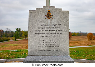 The Freemasons Monument at Valley Forge National Historical Park