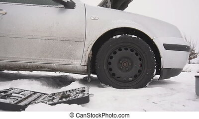 The freezing of diesel fuel in the winter in the car,...