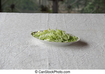 the fresh cabbage salad in a plate
