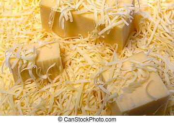 The fresh cheese - grated a hard cheese texture closeup