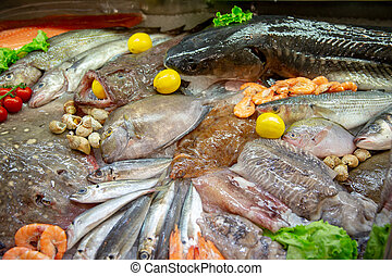 the Fresh seafood photographed in fish market - different...