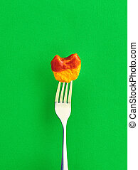 The Friendly Chicken Nugget on fork - The Kid Friendly...