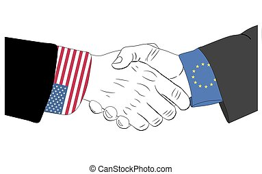The friendship between USA and Europe Union - Handshake of...