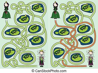 The frog prince maze for kids with a solution