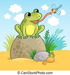The frog sits on a large rock.