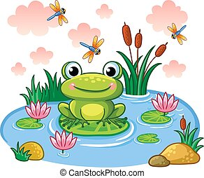 The frog sits on a leaf in the pond.