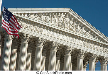 The front facade of the United States Supreme Court in Washington DC