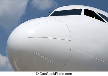 The front of an aircraft in close up