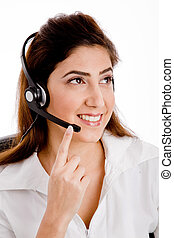The Front View Of Smiling Telecaller - The Front View Of...