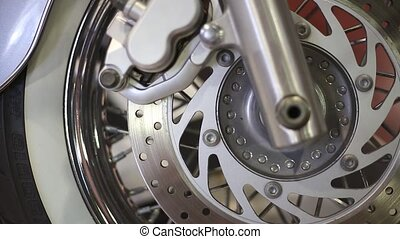 the front wheel of a motorcycle