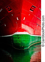 The frontface of a very large ship - A photo of the front of...