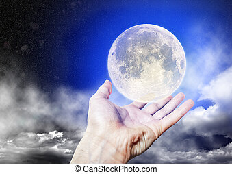 The full moon is on the Palm of your hand