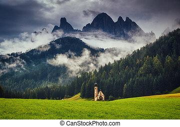 The Funes valley, Santa Maddalena in the Dolomites, South Tyrol. Location Bolzano, Italy alps, Europe.