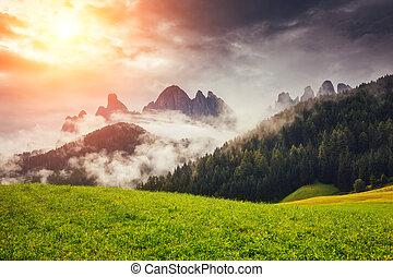 The Funes valley, Santa Maddalena in the National park Puez Odle. Dolomites, South Tyrol. Location Bolzano, Italy alps, Europe.