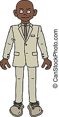 The funny afroamerican man in a light snit - The vectorized...