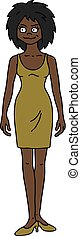 The funny afroamerican woman - The vectorized hand drawing...