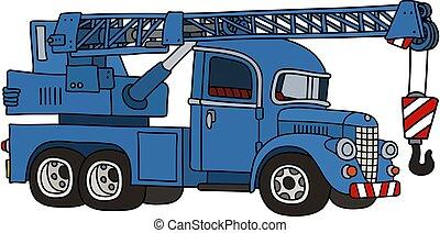 The funny classic blue truck crane