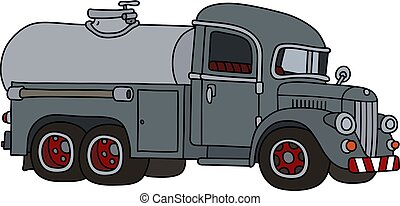 The funny classic gray tank truck