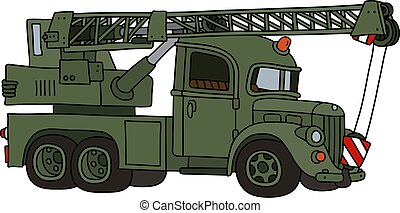 The funny classic military truck crane